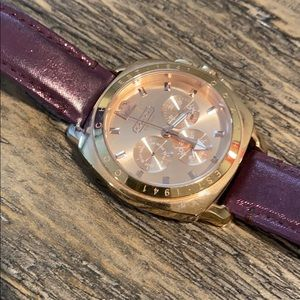 Coach Rose Gold Chronograph Leather Band Watch